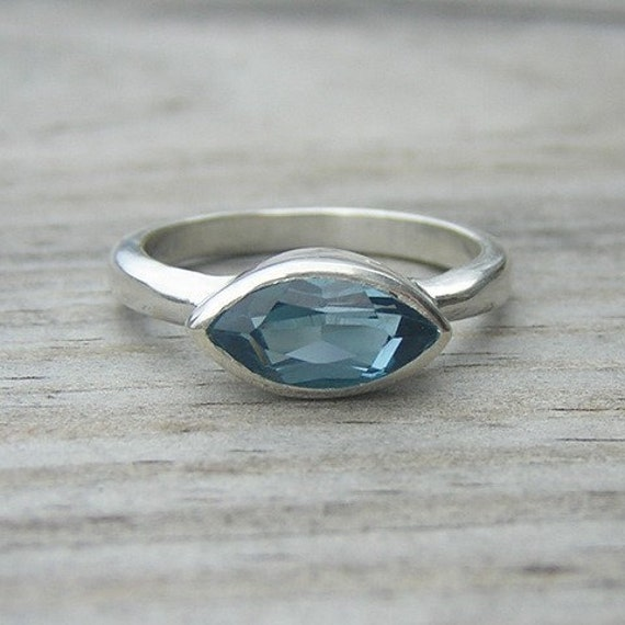 London Blue Topaz Ring, Sterling Silver Ring, SLICE ,Made To Order in Your Size