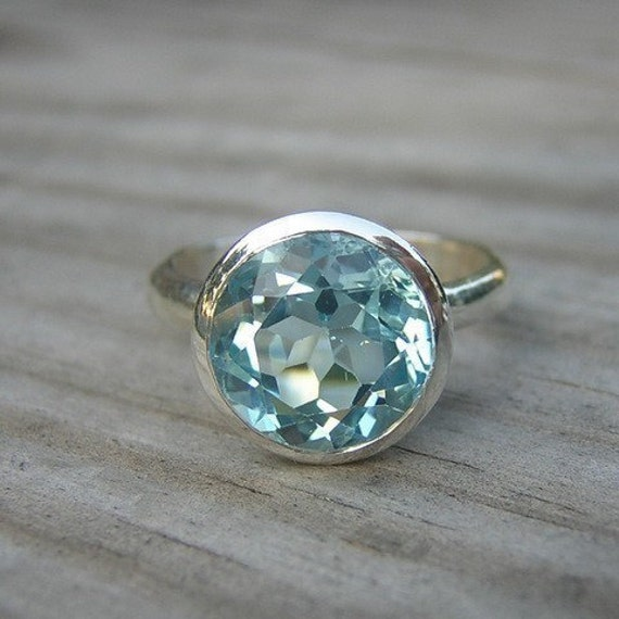Sky Blue Topaz Gemstone and Sterling Ring, SIZE 8 Ready to ship