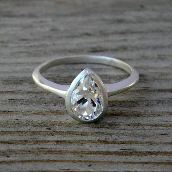 White Topaz Gemstone Ring, Pear Shaped Ring in Sterling Silver, Made To Order