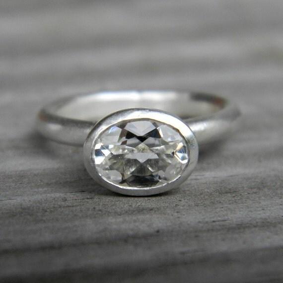 Horizontal White Topaz Ring in Matte Argentium Silver, SIZE 5