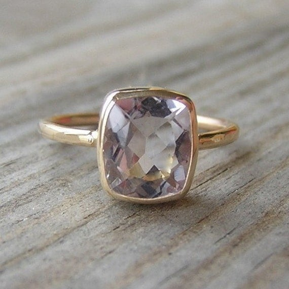 Yellow Gold and Morganite Ring, 14k Yellow Gold and Pink Beryl Solitaire, Cushion Cut Statement Ring, Diamond Alternative Engagement