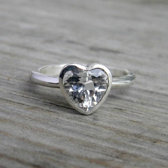 Heart Shaped Ring, White Topaz Gemstone Engagment Ring, Diamond Alternative Engagement Ring, Clear Stone Ring, Non Diamond Bezel Ring