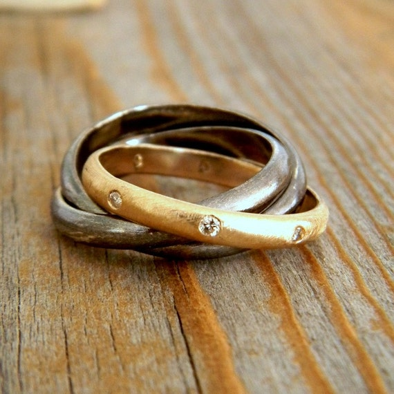Rolling Wedding RIng in 14k Yellow Gold, Conflict Free Diamond and Blackened Sterling
