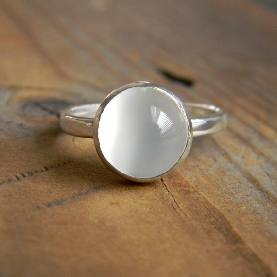 Size 6 Moonstone and Sterling Ring with Recylced Silver