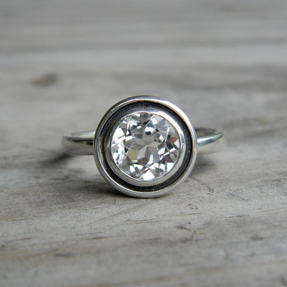 White Topaz Halo Ring in Tarnish Resistant Sterling, Ready To Ship Size 4