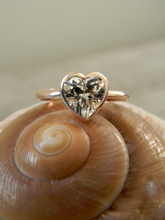 HEART of GOLD, White Topaz and 14k Rose gold