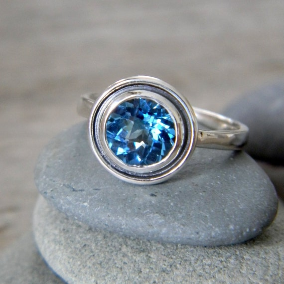READY To SHIP Size 8, Swiss Blue Topaz Halo Ring in Tarnish Resistant Sterling