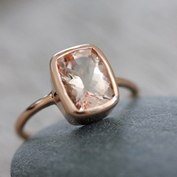 Morganite and 14k Rose Gold Ballerina RIng , Made to Order in Your Size