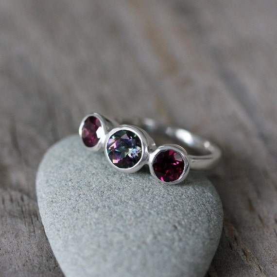 Mystic Topaz Ring With Rhodolite Gemstones and Sterling SIlver Ring, READY To Ship Size 5