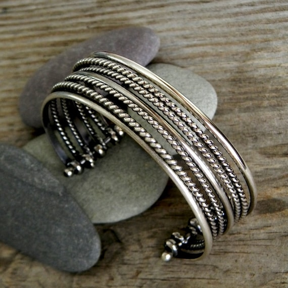 Sterling Silver Bracelet, Multi Cuff Design Made of Blackened Silver, Oxidized