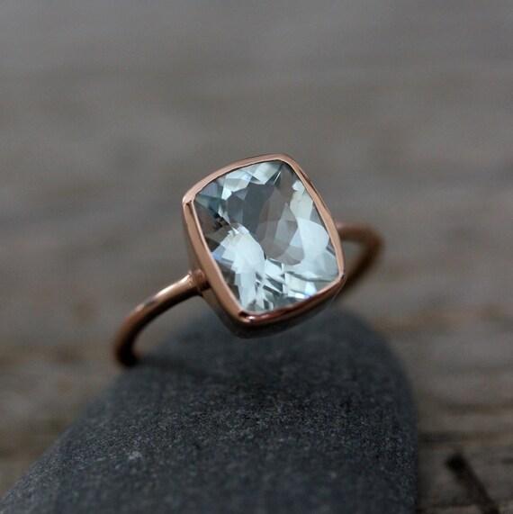 Aquamarine Cushion Gemstone, Blue Aquamarine Ring, Rose Gold Engagement Ring for Women, Bezel Set Engagement Ring
