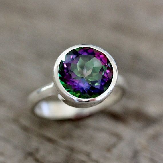 SIZE 5 Ready To SHip Limited Edition Sterling Silver Ring Featuring Mystic Topaz Ring, Recycled Sterling ROCK FETISH