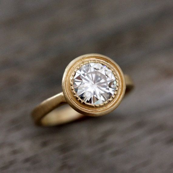 Halo Engagement Ring, Moissanite Wedding Ring, Yellow Gold Solitaire, Modern Vintage Inspired Rings