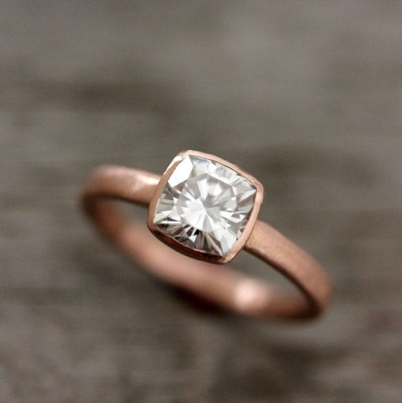 Rose Gold Engagement Ring, Forever Brilliant Moissanite Engagement Ring,  Recycled, Ethical ,non diamond