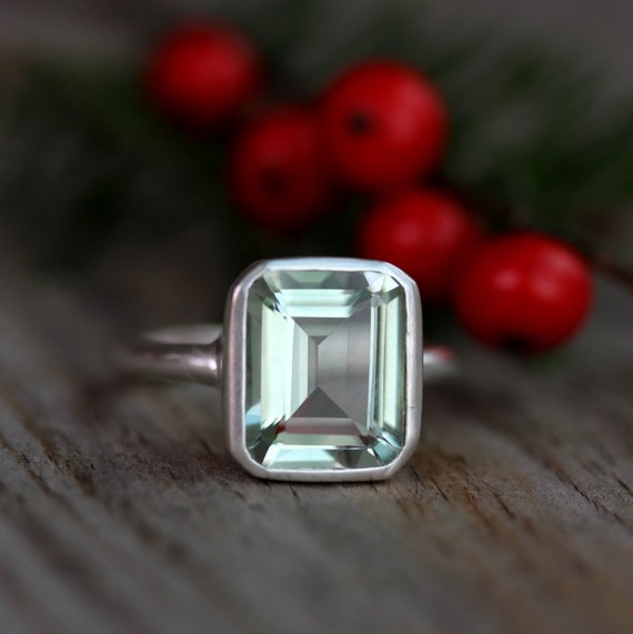 Ready To Ship Size 8 3/4 Green Amethyst Emerald Cut Ring in Argentium Sterling Silver, Recycled Silver Made to Order