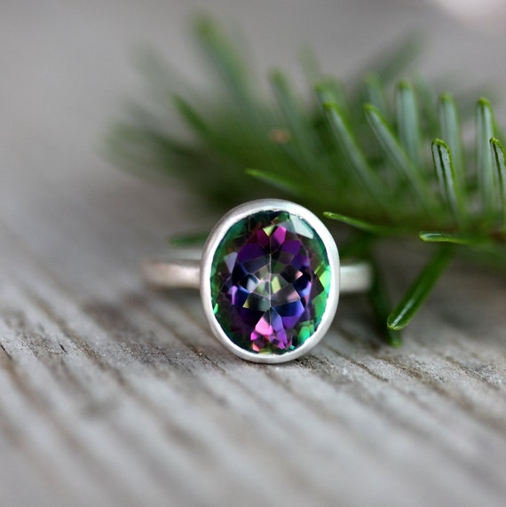 Limited Edition  Sterling Silver Ring Featuring OVAL Mystic Topaz Ring, Made To Order in Your Size