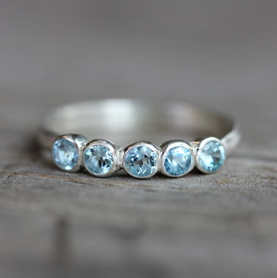 Aquamarine Anniversary Band Ring, Sterling Silver Ring, 5 stone Design in Recycled Sterling and March Birthstone