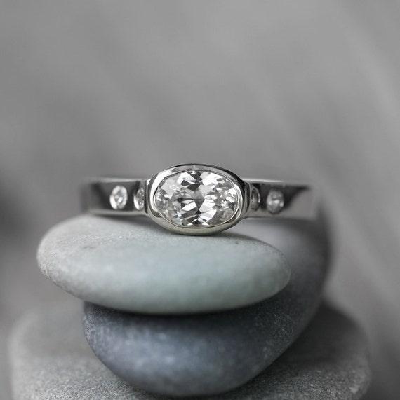 white sapphire white gold engagement ring 14k palladium white