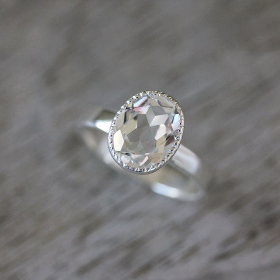 Vintage Inspired Handmade Engagement Ring,  Milgrain White Topaz Ring in Sterling Silver, Made To Order