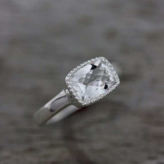 Vintage Inspired  White Topaz Cushion Cut Ring in Sterling Silver and Millgrain Bezel, Made To Order