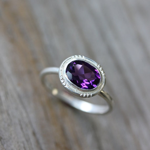 Amethyst Gemstone Ring, Oval Halo Ring, Vintage Inspired and Made To Order