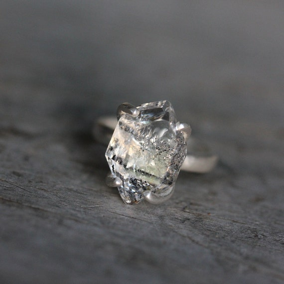 Herkimer Diamond and Recycled Sterling Silver Ring, Cocktail Ring Solitaire One of a Kind Size 8
