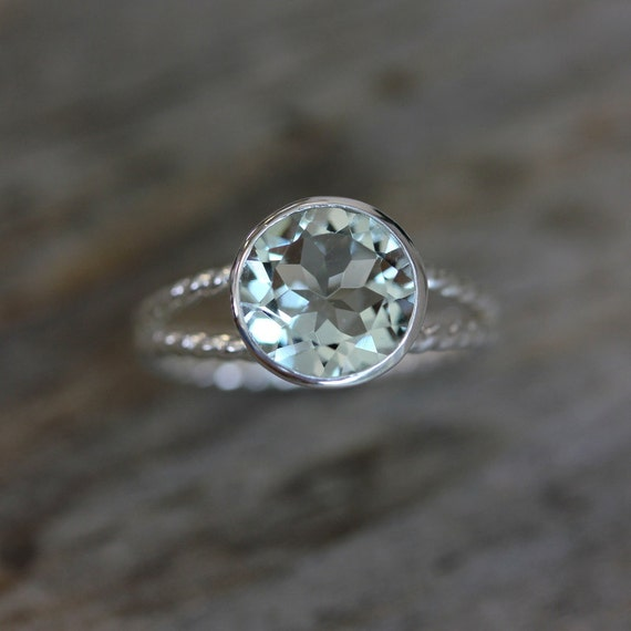 Green Amethyst Gemstone and Recycled Sterling Ring, Sage Green Rope Split Shank Design, Rapunzel