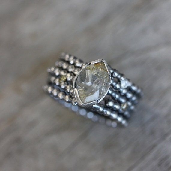 Rutilated Quartz and Chocolate Diamond Blackened Wide Band Ring, Fits size 6.25 through 7