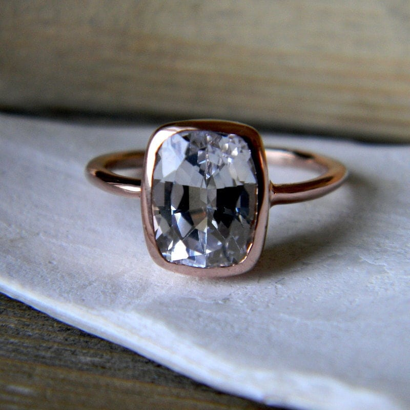White Sapphire RIng Rose Gold Engagement Ring Cushion Cut
