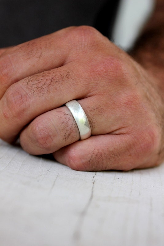 Sterling Silver Wedding Band Mens Band In Brushed Silver And