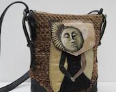 FABRIC and LEATHER Shoulder Bag Serena Luna Satchel by bizmo