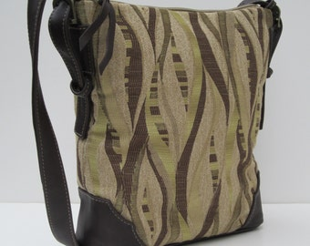 LARGE SHOULDER BAG  Fabric with Leather Streaming Green Satchel by bizmo