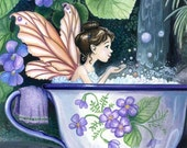 Tea cup Bubble Fairy 8X10 fantasy unmatted art print