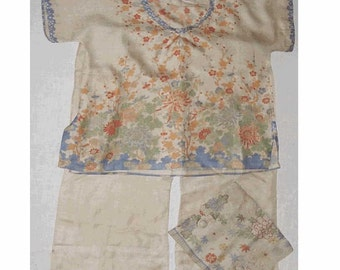1920's Hand Painted Chinese SILK PAJAMAS with Lingerie Bag - Child or DOLL Size