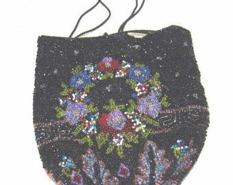 ON SALE - Micro Bead BEADED Edwardian Purse  - Flowers - Greek Key Design