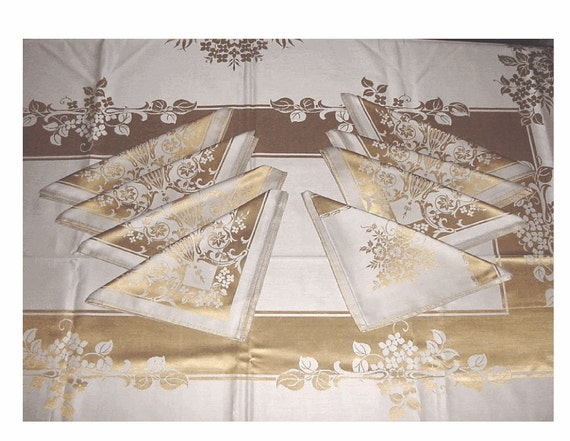 RESERVED - Entertain Like Royalty - Vintage Formal METALLIC GOLD Brocade Table Linens - Cloth 8 Dinner Napkins - New - Unused