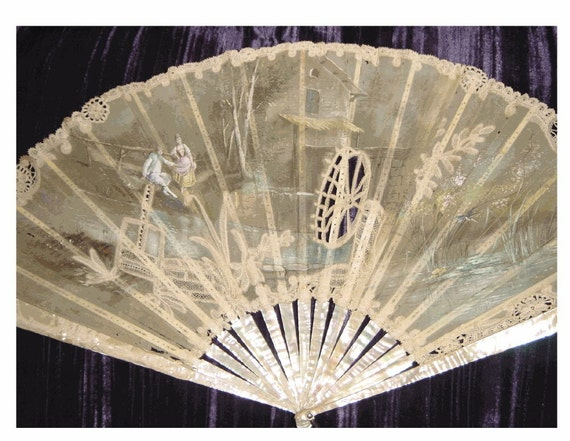 TREASURY Victorian Fan - Hand Painted - Hand Made Lace - Mother-of-Pearl Tines