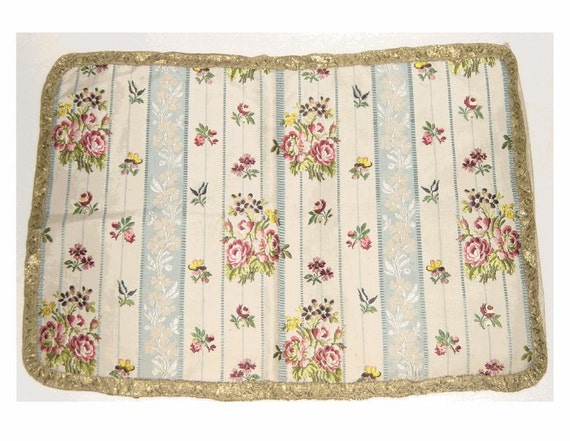 RESERVED - Pair of 19th Century FRENCH SILK  Brocade Pillow Cover with Metallic Gold Trim