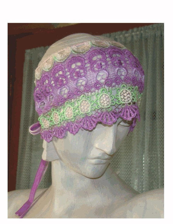 Hand Dyed VENISE Lace FLAPPER HEADBAND - Lavender - Orchid - Pale Pink - Apple Green