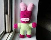 Chloris - pink and green sock monster