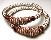 Wire wrapped bangle brown white Sustainable jewelry