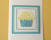 Sweet Cupcake Card in Yellow/Teal - Five-Pack