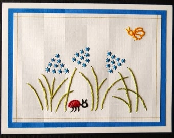 Flowers with Ladybug Note Cards / Pack of Five