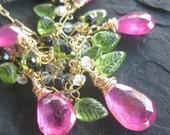 Pink sapphire, peridot, topaz necklace --Springtime in Paris
