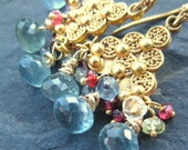 Moss aquamarine earrings with red spinel, gold --Montpelier-- RESERVED