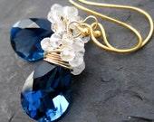 Sapphire blue quartz, crystal quartz earrings --Bon Bon--