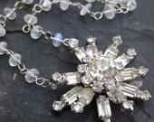 Moonstone necklace RESERVED vintage rhinestone snowflake gemstone chain winter style ice queen statement neckalce --Novaya--