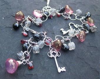 Sterling silver bracelet with skeleton key charms, pink quartz, and garnet - rose, raspberry - victorian mansion - charm bracelet -gemstones