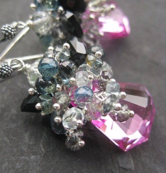 Pink topaz, songea sapphire earrings RESERVED sterling silver luxe glamour cluster gemstone jewelry mermaid dangle  --Villa Borghese--