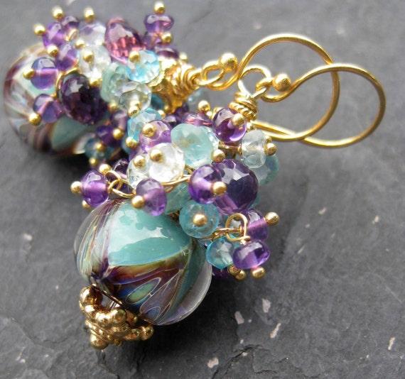 Boro lampwork glass bead earrings, apatite, aquamarine, amethyst--Aurora--